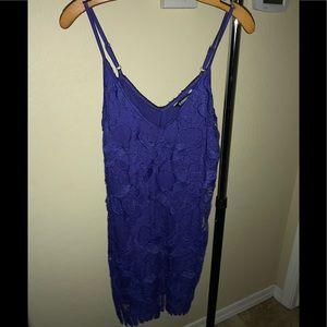 Blue thin strap lace dress.